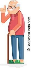 plat, oud, illustratie, grootvader, vector, ontwerp, volwassene, man