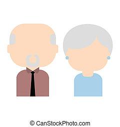plat, oud, illustratie, paar, vector, vrolijke