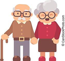 plat, oud, illustration., karakter, samen, grootvader, grootmoeder, man, dame, vrolijke