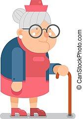 plat, oud, karakter, illustratie, vector, ontwerp, oma, dame, spotprent