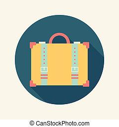 plat, ouderwetse , reizen, koffer, lang, schaduw, pictogram