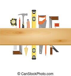 plat, outillage, bannière, charpentier