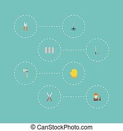 plat, outillage, râteau, elements., latex, râteau, pruner, ensemble, inclut, symboles, aussi, vecteur, hache, icônes, objects., agriculture, autre