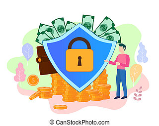 plat, page, concept, bannière, toile, argent, protection, presentat