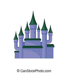 plat, palais, pourpre, grand, royal, roofs., élevé, tours, jeu, vecteur, vert, mobile, élément, conique, castle.