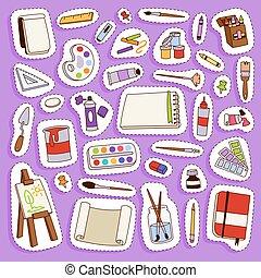 plat, palette, ensemble, art, instrument, peinture, symbole, artiste, créativité, toile, illustration, créatif, décoration, équipement, vecteur, détails, papeterie, dessin, outils, peinture, icône