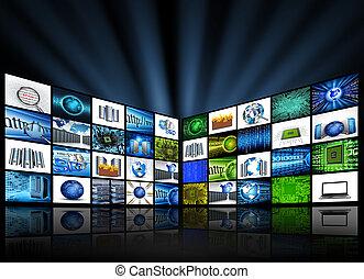 plat, panelen, met, technologie, beelden