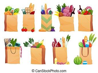 plat, -, papier, produits, lait, pain, ensemble, illustration, sac, style., frais, différent, shopping., fruits, épicerie, légumes, jambon, vecteur, nourriture, fromage, boisson
