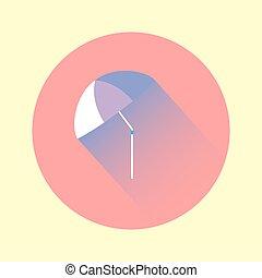 plat, parapluie, coloré, icône