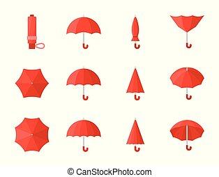 plat, parapluie, conception, divers, style, rouges, icône