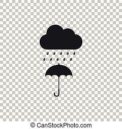 plat, parapluie, goutte, isolé, pluie, arrière-plan., vecteur, illustration, icône, transparent, nuage, design.