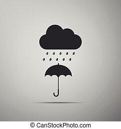 plat, parapluie, goutte, isolé, pluie, gris, arrière-plan., vecteur, illustration, icône, nuage, design.
