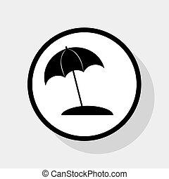 plat, parapluie, gris, soleil, signe., arrière-plan., cercle, noir, vector., chaise longue, ombre, blanc, icône