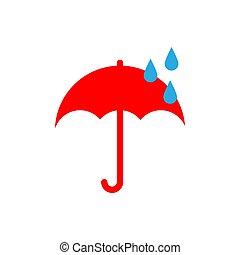 plat, parapluie, il, style., temps, rain., icon., gouttes, rainy., rouges