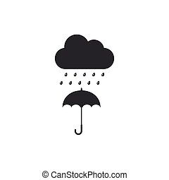 plat, parapluie, isolated., goutte, pluie, vecteur, illustration, icône, nuage, design.