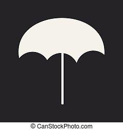plat, parapluie, mobile, application, noir, plage blanche