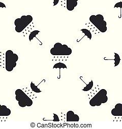 plat, parapluie, modèle, goutte, seamless, pluie, arrière-plan., vecteur, illustration, blanc, icône, nuage, design.