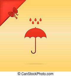 plat, parapluie, or, symbole., eau pluie, arrière-plan., drops., protection, conception, cristmas, style., rouges, icône