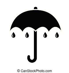 plat, parapluie, simple, pluie, noir, icône, gouttes