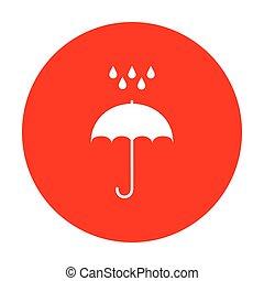 plat, parapluie, symbole., pluie, style., eau, drops., protection, conception, blanc, circle., rouges, icône