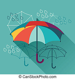 plat, paraplu's, ontwerp, style., kaart