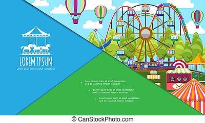 plat, parc, coloré, amusement, composition