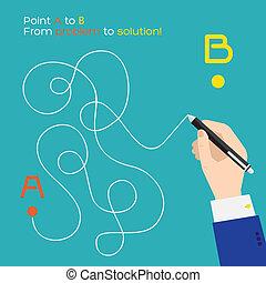 plat, parcours, b, stylo, point