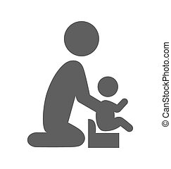 plat, parent, pictogramme, isolé, potty, bébé, blanc, icône