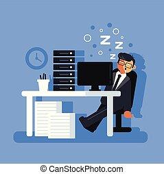 plat, paresseux, dur, bureau, fatigué, ouvrier, concept., travail, caractère, isolé, illustration, dormir, workplace., directeur, vecteur, conception, homme affaires, graphique, dessin animé