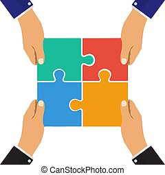 plat, partnership., réussi, collaboration, puzzle., solution, teamwork., vecteur, coopération, conception, concept., symbole