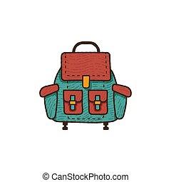plat, patch., design., randonnée, camping, vendange, sac à dos, isolé, équipement, retro, dessiné, blanc, stockage, écusson, emblème, engrenage, main, fond, unique, vecteur, icon., voyage
