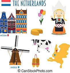 plat, pays-bas, ensemble, voyage, illustration, vecteur, tourisme, concept., icône