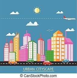 plat, paysage, conception urbaine