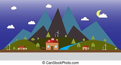 plat, paysage, illustration, nuit, style