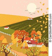 plat, paysage, village, dessin animé, coloré