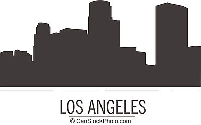 plat, paysage, ville, silhouette., angeles, style., los