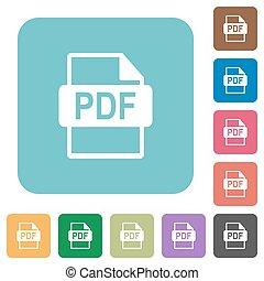 plat, pdf, bestand, formaat, iconen