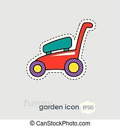 plat, pelouse, jardin, faucheurs, vecteur, icône