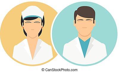 plat, personnel médical, clinique, icônes