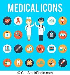 plat, personnel médical, outils, icônes