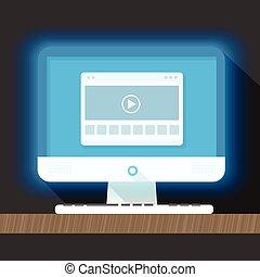 plat, persoonlijk, moderne, browser., illustratio, computer, ontwerp