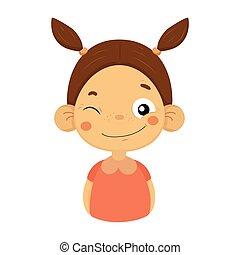 plat, peu, cligner, girl, facial, portrait, émotif, sourire, emoji, expression, dessin animé, icône
