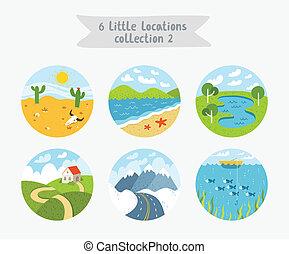 plat, peu, ensemble, paysages, illustration, emplacements, style, vecteur, cloudscapes, 6, paysages marins, cercle
