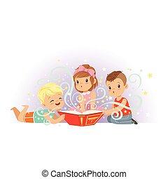 plat, peu, groupe, tales., livre, imagination., fabuleux, isolé, dessin animé, garçons, vecteur, caractères, magie, lecture fille, gosses, enfants, fée