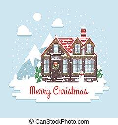 plat, peu, hiver, neigeux, maison, vacances, fetes, recours, montagnes., salutations, fond, style:, cottage., ski, noël, card.