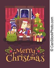 plat, peu, sien, confortable, salutation, séance, claus, caractère, ear., illustration, noël, santa, chuchotement, chaise, recouvrement, girl, carte, salle