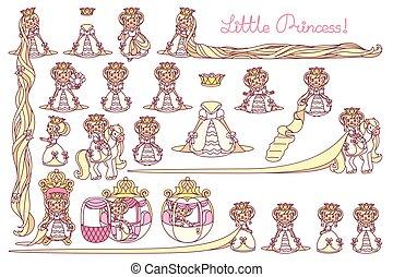 plat, peu, vecteur, ensemble, princesse