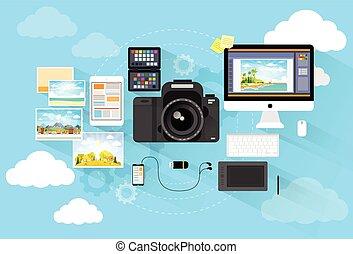 plat, photographe, informatique, conception, espace de travail, bureau, appareil photo, icône