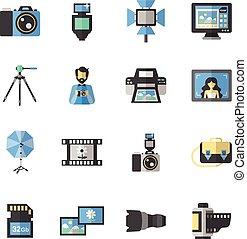 plat, photographie, icônes