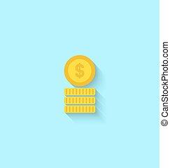 plat, pièces, icône, doré